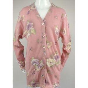 VTG 90s Italian Long Floral Sweater Tunic Pastel M